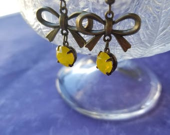 Brass bow earrings with crystal drops yellow crystal yellow drop earrings womens gifts gifts for her mothers day gifts jewelry jewellery