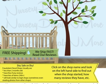 Kids Room Tree Decals with leaves, Nursery Wall Decal, Brown Tree Stickers (Evergreen) SmTO