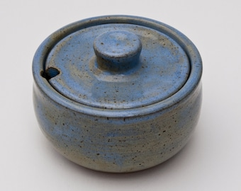 Small Stoneware Sugar Bowl With Spoon Rest