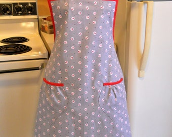 Old Fashioned Full Apron in Gray and Red 1930's Reproduction Fabric in XXL