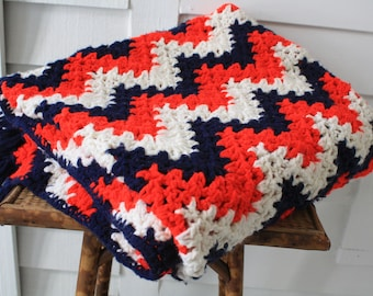 red, white and blue afghan, cozy blanket, chevron afghan