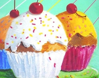 Pop Art Print * COLORFUL CUPCAKES  * Wall Hanging * Small Art Format by Rodriguez