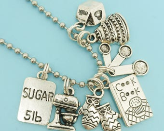 Cooking / Baking Charm Necklace Silver Charm Pendant Gift for Chef Baker Cook Chain Necklace Jewelry