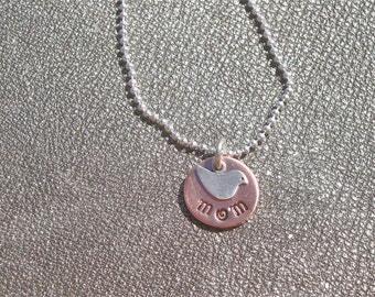 Momma Bird Necklace -Sterling Silver and Copper - Gifts for Her - Gifts for Mom - Mother's Day Gift
