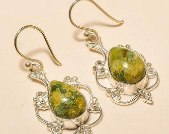 Very Pretty Rhyolite stone with 925 silver drop earrings