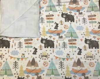 Large Baby Blanket, Swaddle, Reversible, Bears, Stripes, Blue, Receiving Blanket, Camping, Canoe, OOAK, Baby Boy, Baby Essentials