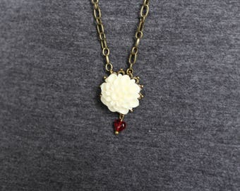 White Dahlia with Red Heart Bronze Necklace