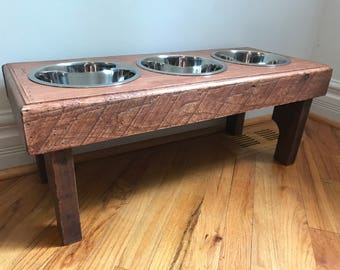 Primitive dog bowl feeding stand- elevated pet feeding station- rustic dog bowl stand- 3 bowls   Included- custom sizes available