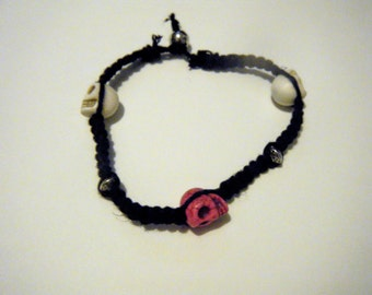 Black Hemp Bracelet with Pink and White Skulls