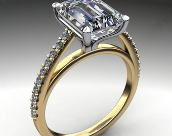 mia ring – 2.5 carat emerald cut NEO moissanite engagement ring, french pave ring