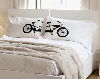 Couples Gift Wedding Gift Couples Pillowcases His Her Bikes Tandem Bicycle