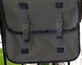 Bicycle  pannier, waterproof vinyl with nyon or cotton lining.