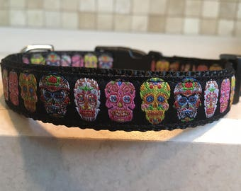 Sugar Skulls Small and Medium Dog Collar