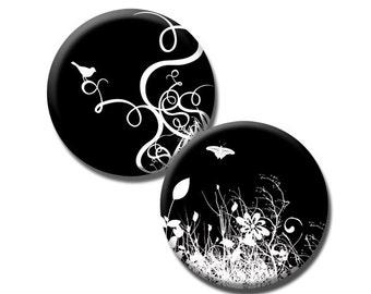 Nature on Black - 40mm circles - (3) Digital sheets