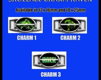 HULK Shoelace Charm  Paracord Bracelet Charm Oval Charm 12 x 16mm or 18 x 25mm Charms