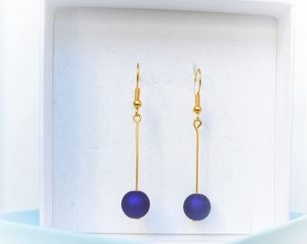 Gold Eggplant Purple Pearl Earrings