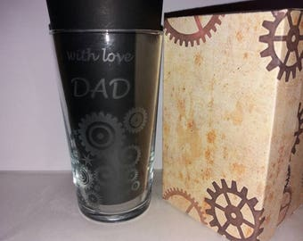 Personalised Steampunk themed etched pint glasses any name message and design other glasses available see listings