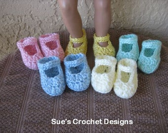 Crochet Doll Shoes for Bitty Baby and American Girl Doll - 5 for price of 1 - Great colors!!!