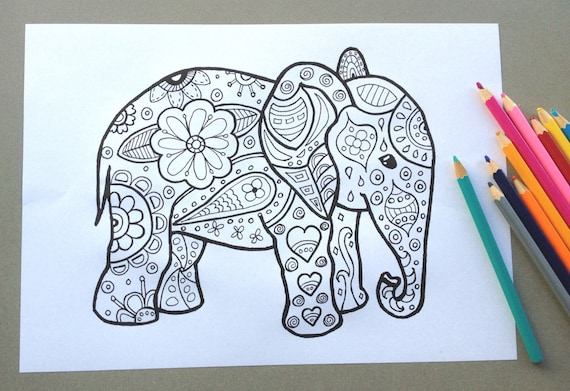 Elephant Design Colouring Page Adult Colouring Page Kids