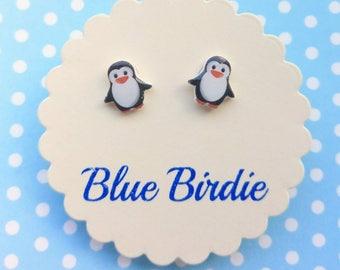 Penguin earrings penguin jewellery penguin jewelry tiny penguin stud earrings small Christmas penguin earrings cute earrings penguin gifts