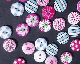 DESTASH WOODEN BUTTONS,Button Lot,Painted Wood Buttons,Craft Sewing Supplies,Scrapbook Supplies,Plaid,Polka Dot,Round Variety Destash Button