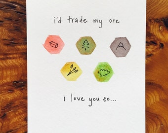 Settlers of Catan Greeting Card Couples Anniversary Valentine Geek Nerd Love