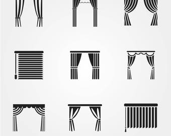 Blinds icon, curtain icon, sight icon, window blinds