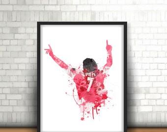 Robert Pires Digital Download Arsenal Legend Art Print, Football Art, Mancave Decor, Boys Room Decor, Gunners, Footy Art Print