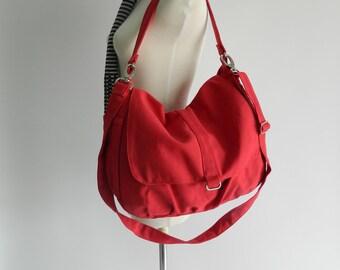 Red Messenger school bag, women Cross body bag, zipper shoulder bag, diaper bag , gift for mom /Sale 25 % - no.18 -DANIEL