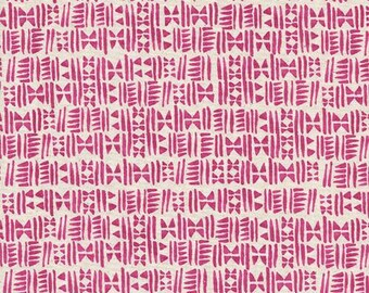 Cotton + Steel Panorama Sunrise - Stamps in Hot Pink -  Pink Fabric - Unbleached Quilting Cotton - By the Yard
