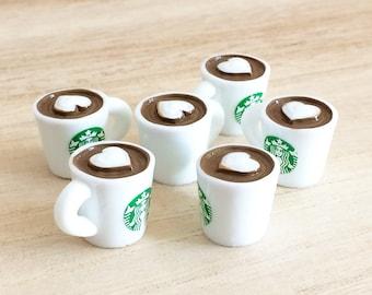 6 pcs Hot Coffee Mug Cabochons - White / Heart Kawaii Cabochons Cute Dollhouse Miniatures Resin Fake Drink