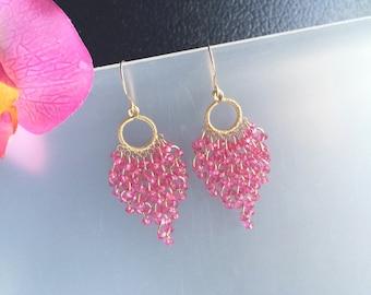 Gold Filled Pink Quartz Chandelier Earrings