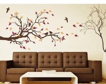 20% OFF Summer Sale Autumn Bird branch tree wall decal, sticker, mural, vinyl wall art