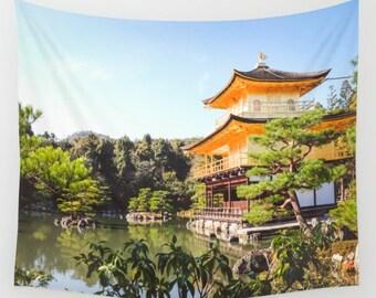 Kyoto Wall Tapestry, Japan Wall Tapestry, Golden Temple Kyoto, Kinkaku, Large Wall Art, Living Room Art, Dorm Room