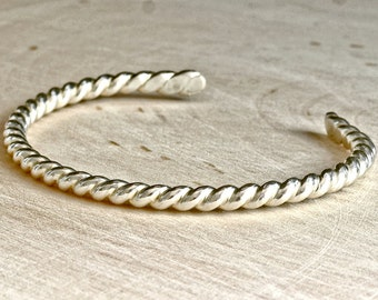 Sterling Silver Twisted Wire Cuff Bracelet - Solid 925 BR064