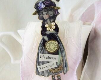 Marie Antoinette, Brooch, Pin, Tea Party Brooch