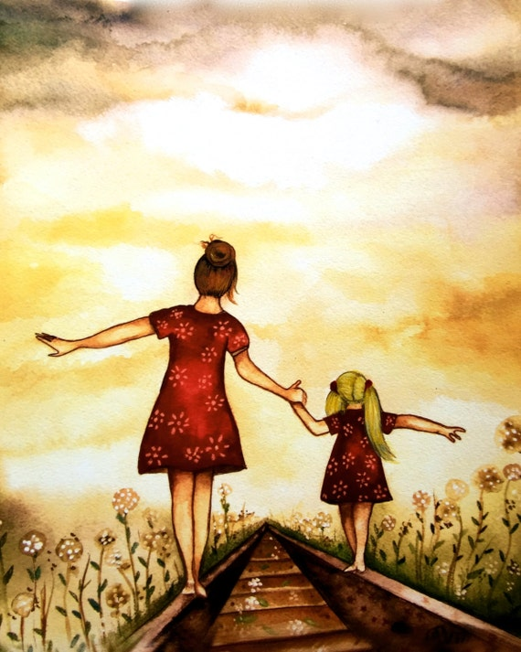 """Mother and blonde daughter """"our path"""" art print, gift idea mother's day"""