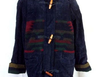 vtg 80s Braetan ladies Leather Fleece Southwest Jacket Aztec Hooded sz S