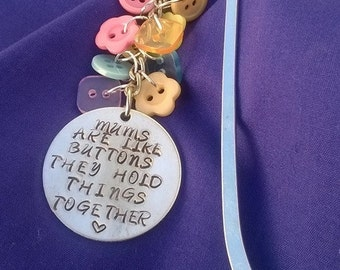 Mothers are like buttons bookmark. Mother's Day gift. Bookmark. Hand stamped bookmark.