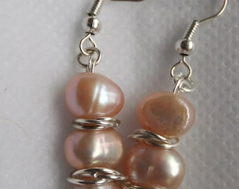 Pink Freshwater Pearl  Earrings, matching bracelet, pink silver earrings, Argentium Sterling silver ear wires, gift for her, bridal earrings