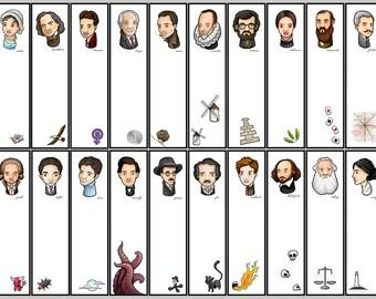 author bookmark, literary gift, literary bookmark, Edgar Allan Poe, Austen, Lovecraft, Shakespeare, Woolf, Cervantes, Kafka, gift for reader