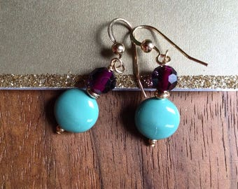 Coin Jade Swarovski Pearl, Purple Faceted Glass & Gold Filled Beaded Earrings