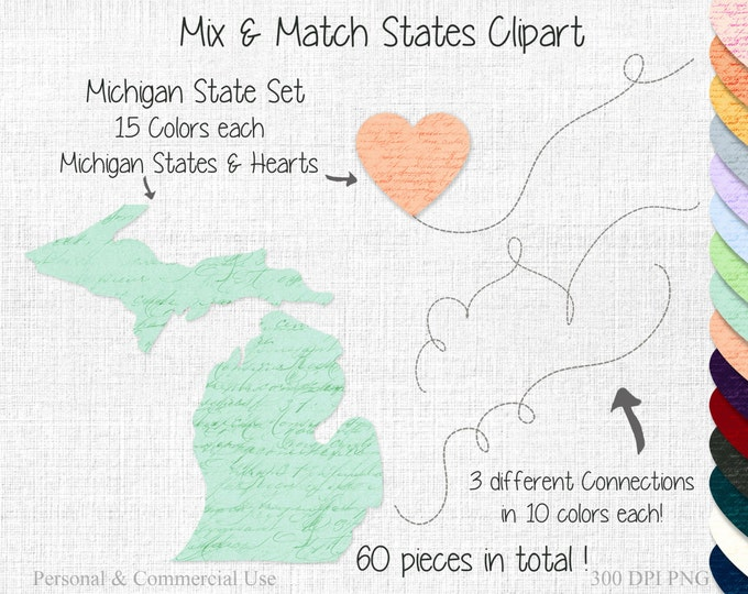 STATE to STATE Clipart Wedding Clipart Commercial Use Clipart Mix & Match Home States Michigan State Clipart United States Shapes Clipart