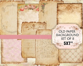 Old paper Vintage Backgrounds Shabby chic paper Scrapbook Decoupage 5x7 inch (367) set of 4 sheets