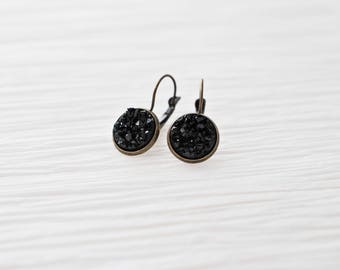 Black Brass Earrings, Black Earrings, Antique Brass Earrings, Leverback Earrings, Black Druzy Earrings, Faux Druzy, Drop Earrings, For Her