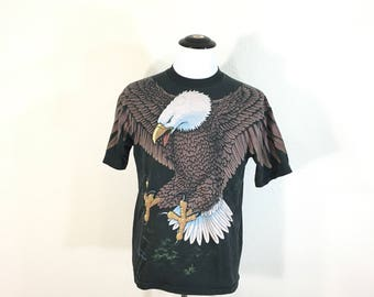 90's vintage all over print eagle print 100% cotton t-shirt size L made in usa