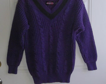 Purple Cable Knit Sweater by Quarters, Size Small