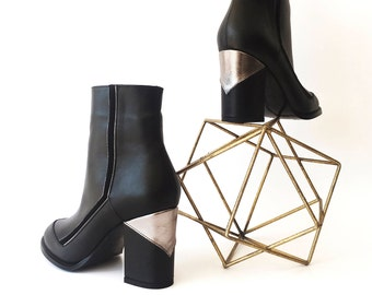 Black Boots / Bootie / Ankle Boot / Metallic detail / Women Boots / Genuine Leather  / 80's style / woman booties / Mexican Manufacture