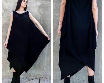 Summer dress/Long dress black/Asymmetric dress/Sleeveless kaftan/Cotton dress/Asymmetric tunic/D0048