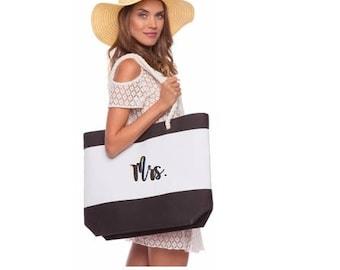 Honeymoon Beach Bag - Beach Bag - Honeymoon Bag - Monogrammed Tote Bags - Monogrammed Totes - Wedding Totes - Bridesmaid Totes